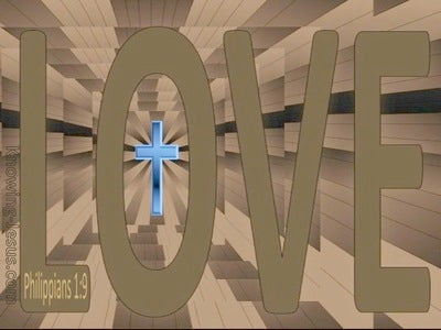 Philippians 1:9 Love cross (blue)